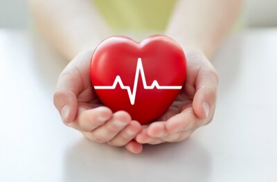 Naklejka bliska strony z kardiogram na czerwonym sercem