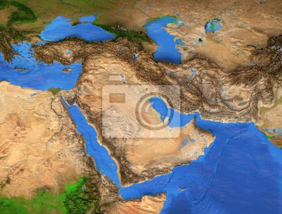 Naklejka Bliski Wschód - region Zatoki Perskiej. Mapa wysokiej rozdzielczości