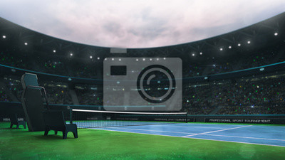 blue and green tennis court stadium with fans at daytime, side view, professional tennis sport 3D illustration background