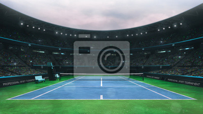 blue and green tennis court stadium with fans at daytime, upper front view, professional tennis sport 3D illustration background