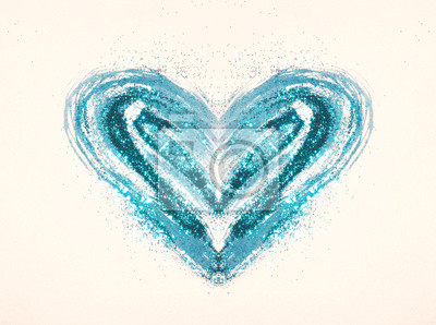 Blue glitter on abstract blue watercolor heart on paper in nostalgic colors