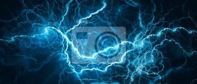 Naklejka Blue glowing lightning