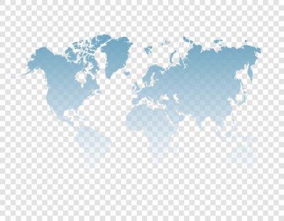 blue map of world on transparent background