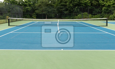 Naklejka Blue outdoor tennis court with green boarder and trees in background