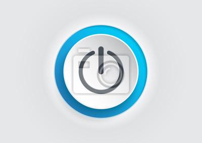 Naklejka Blue power button icon on white background. illustrator vector.