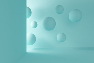 Blue room with light from the entrance and flying spheres. 3d rendering