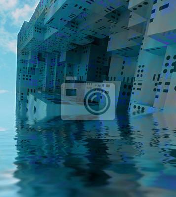 blue sunked nowoczesny statek obserwacyjny miasta