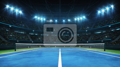 Naklejka Blue tennis court and illuminated indoor arena with fans, player front view, professional tennis sport 3d illustration background
