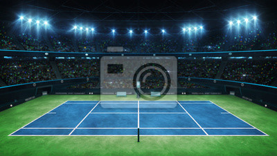 Blue tennis court and illuminated indoor arena with fans, upper side view, professional tennis sport 3d illustration background