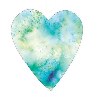 blue watercolor  heart on white  background isolated