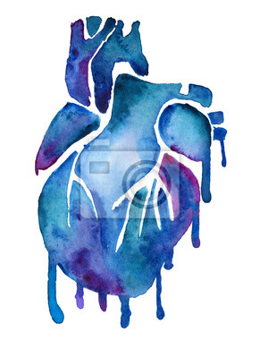 Blue watercolor heart with colorful paint smudges