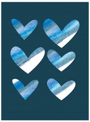 Blue watercolor hearts