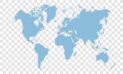 blue world map on transparent background