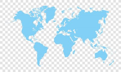 blue world map - vector illustration of earth map on transparent background