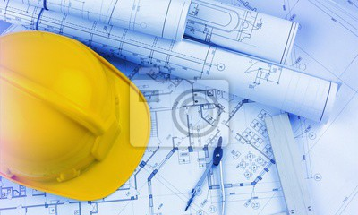 Naklejka Blueprints construction and a yellow hardhat with a compass