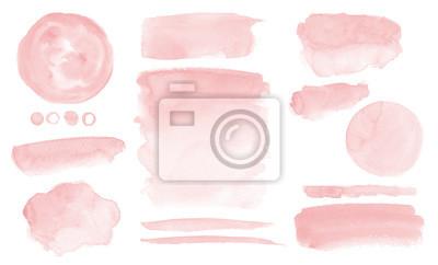 Naklejka Blush pink watercolor stains Paint stropke washes Kit of splashes