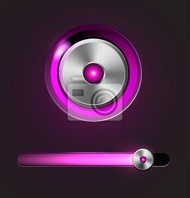 Błyszczący odtwarzacz multimedialny przycisk i bar utwór
