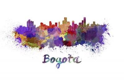 Naklejka Bogota skyline w akwareli