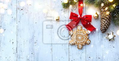 Bombka leżała płasko; Święta Bożego Narodzenia ozdoba karta tło