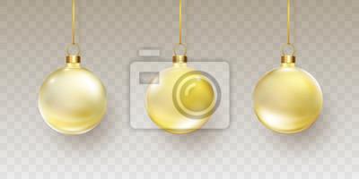 Bombki choinkowe z złote wstążki na przezroczystym tle. Wektor półprzezroczysty złoty szkło xmas bauble zestaw szablonów.