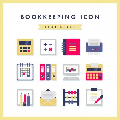 Bookkeeping, business and finance icons. Flat vector style