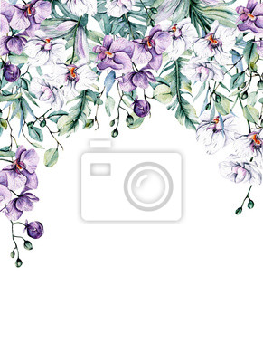Border for greeting card with watercolor flowers, tropical flowers orchids and leaves for design wedding invitation,  background,  postcard, etc. Hand painting.