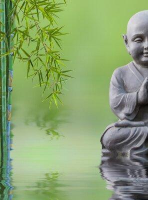 Naklejka bouddha enfant et bambou aquatique, skład zen