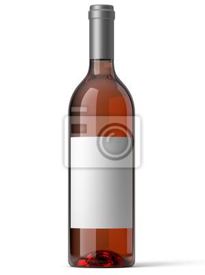 Bouteille de vin różowe sur fond blanc 1