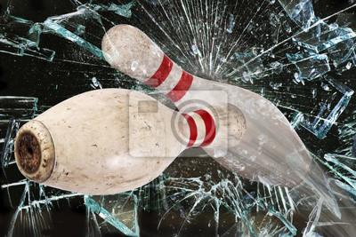 Bowling Pins tłuczonego szkła.