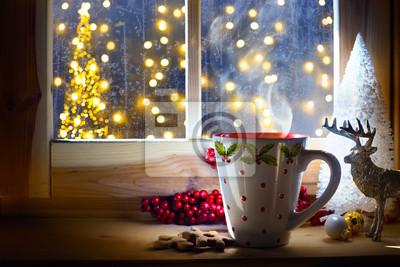 Boże Narodzenie gorący napój i święta ozdoba; Tło kartki świąteczne