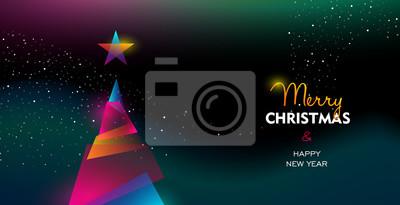 Boże Narodzenie i nowy rok blask drzewa gradientowego karty