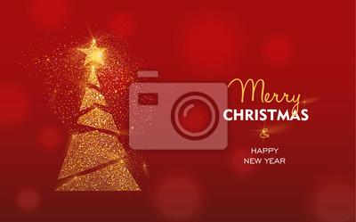 Boże Narodzenie i Nowy Rok karty sosny złoty brokat