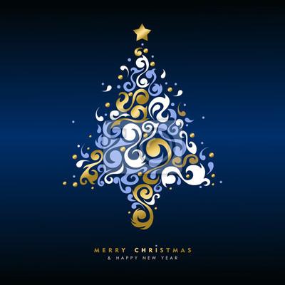 Boże Narodzenie i nowy rok złota karta wakacje drzewo