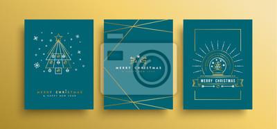 Boże Narodzenie i nowy rok złota karta zestaw konspektu