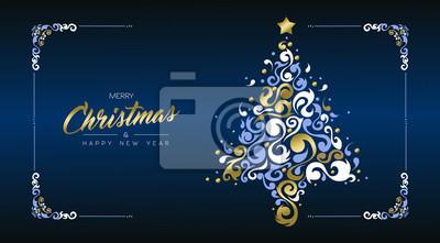 Boże Narodzenie i nowy rok złota sosna retro karty