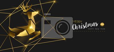 Boże Narodzenie i nowy rok złote jelenie 3d kartkę z życzeniami