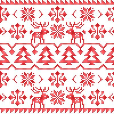 Naklejka Boże Narodzenie i Zima dzianiny szwu wzór