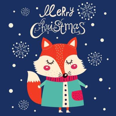 Naklejka Boże Narodzenie karty z cute