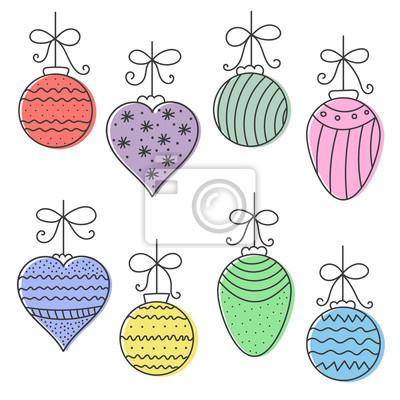 Boże Narodzenie kolorowe ręcznie rysowane bale okrągłe, stożkowe, z sercem. ilustracji wektorowych.
