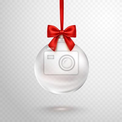 Boże Narodzenie Kula z czerwoną wstążką na przezroczystym tle. Wektorowy półprzezroczysty szklany xmas bauble szablon.
