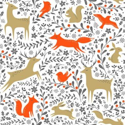 Naklejka Boże Narodzenie Kwiatowe lasy zwierzęta szwu na białym tle