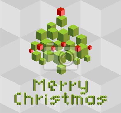Naklejka Boże Narodzenie / Nowy Rok karty okolicznościowe pikseli, wektor