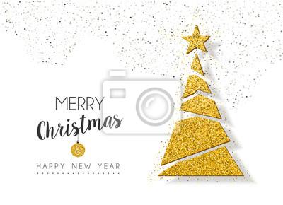 Boże Narodzenie nowy rok złotym blaskiem święta sosna