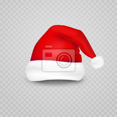 Boże Narodzenie Santa Claus kapelusz na białym tle na przezroczystym tle. Noworoczna czerwona czapka dla efektów czatu wideo. Wektor xmas selfie filtr charakter.