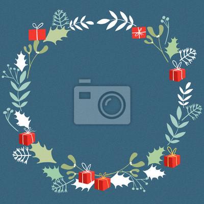 Boże Narodzenie wieniec z prezentami