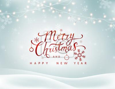 Boże Narodzenie zimowy krajobraz tło z spadające płatki śniegu, światła wianek. Wesołych Świąt i Szczęśliwego Nowego Roku. Sztandaru śnieżny wakacyjny xmas wektor.