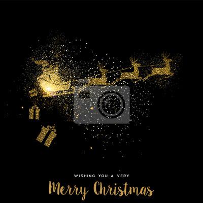 Boże Narodzenie złota brokat Święty Mikołaj karta świąteczna