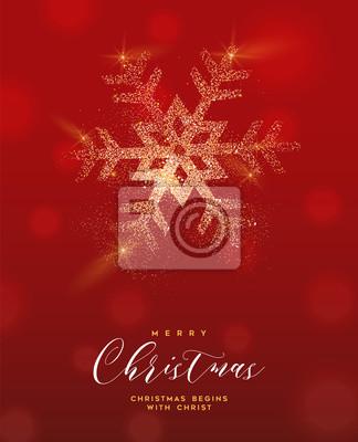 Boże Narodzenie złoty brokat śnieżynka kartkę z życzeniami