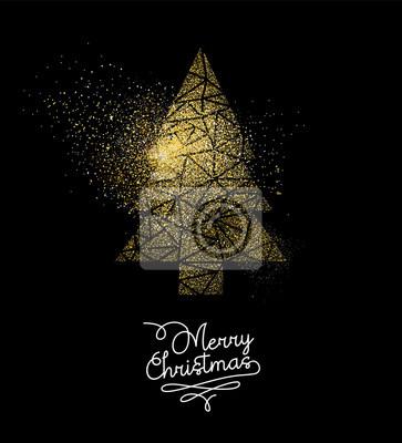 Boże Narodzenie złoty glitter sosna dekoracji drzewo karty