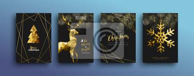 Bożenarodzeniowa luksusowa złocista kartka z pozdrowieniami kolekcja